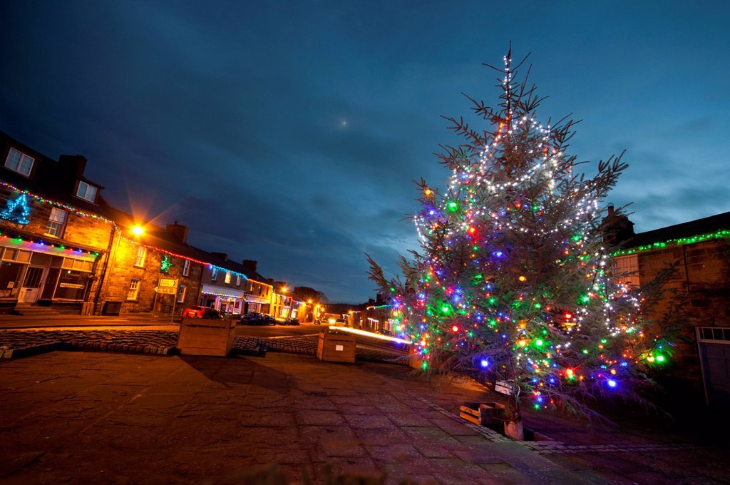 Stock Photo: 1889-76615 An Outdoor Tree Decorated In Colourful Lights For Christmas, Belford Northumberland England