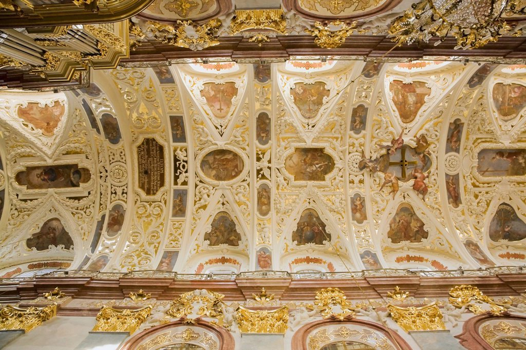 View Of The Ceiling At The Basilica Of The Holy Cross And The Nativity Of The Virgin Mary At The Jasna Gora Monastery, Czestochowa Poland : Stock Photo
