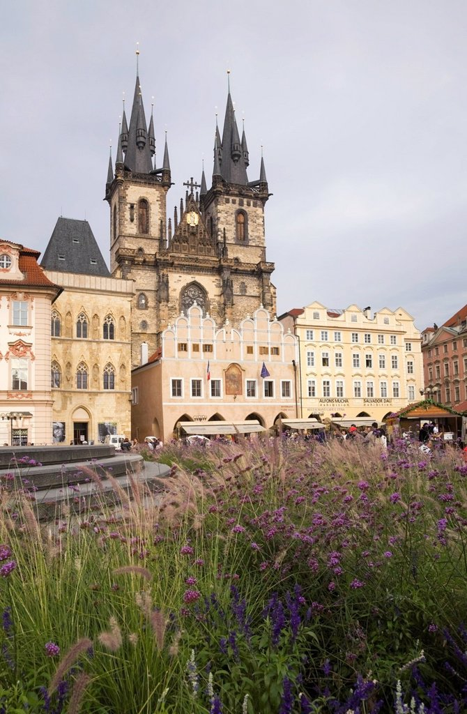 Stock Photo: 1889-76834 Gothic style church of our lady before tyn old town square, prague czech republic