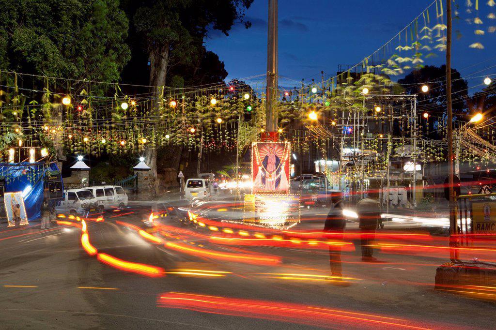 Stock Photo: 1889-76853 Tail lights of traffic on the busy street at dusk, kodaikanal tamil nadu india