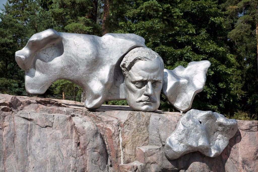 a silver bust of the composer, sibelius, helsinki, finland : Stock Photo
