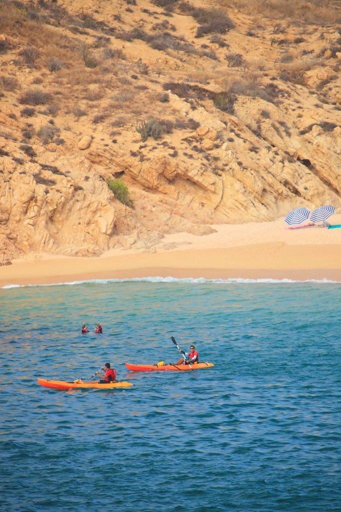 Stock Photo: 1889-79937 kayakers at santa maria bay near san jose del cabo los cabos area, baja california sur mexico