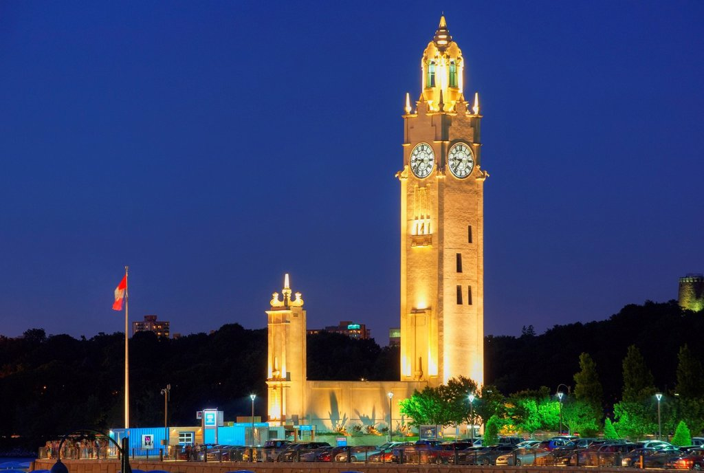Port of montreal clock tower, built in 1919 _ 1922, montreal quebec canada : Stock Photo
