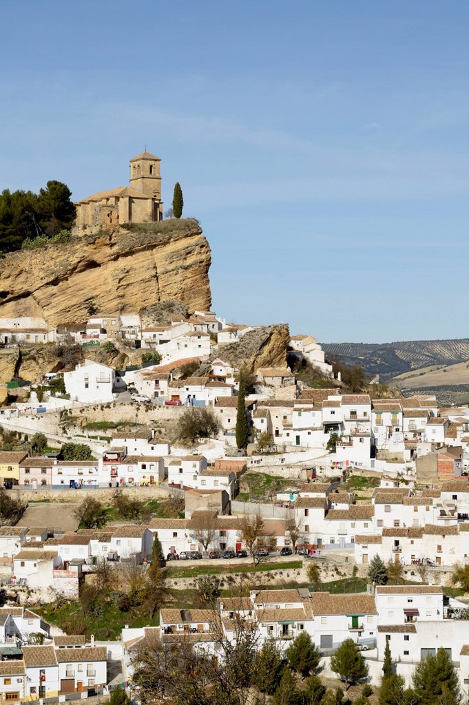 Stock Photo: 1889-81601 15th century iglesia de la villa built on the site of a nasrid castle, montefrio granada spain