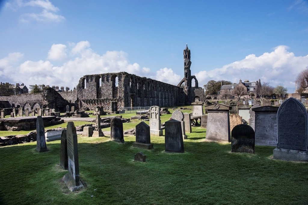 Stock Photo: 1889-81633 Cathedral of saint andrew and cemetery, fife scotland