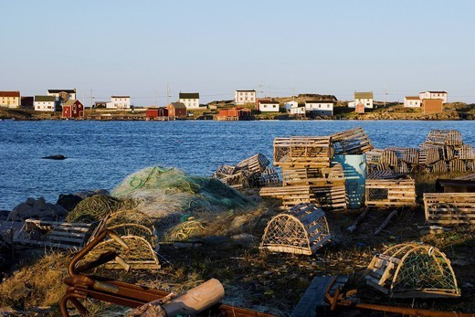 Lobster cages on the coast, fogo island, newfoundland, canada : Stock Photo