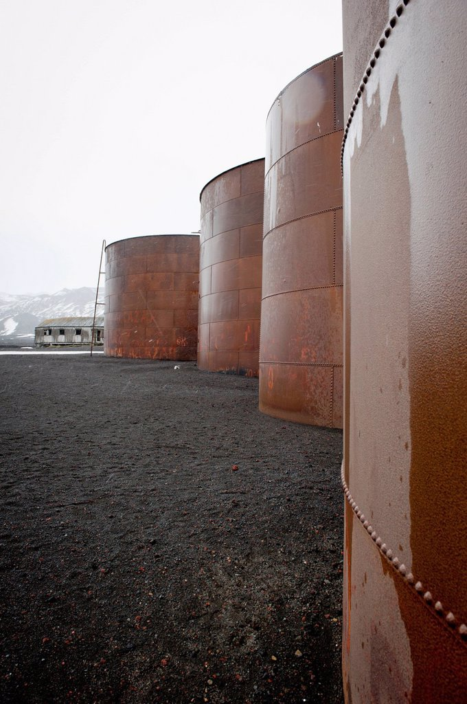 Stock Photo: 1889-82798 Whale oil tanks, whalers bay, deception island, south shetland islands, antarctica