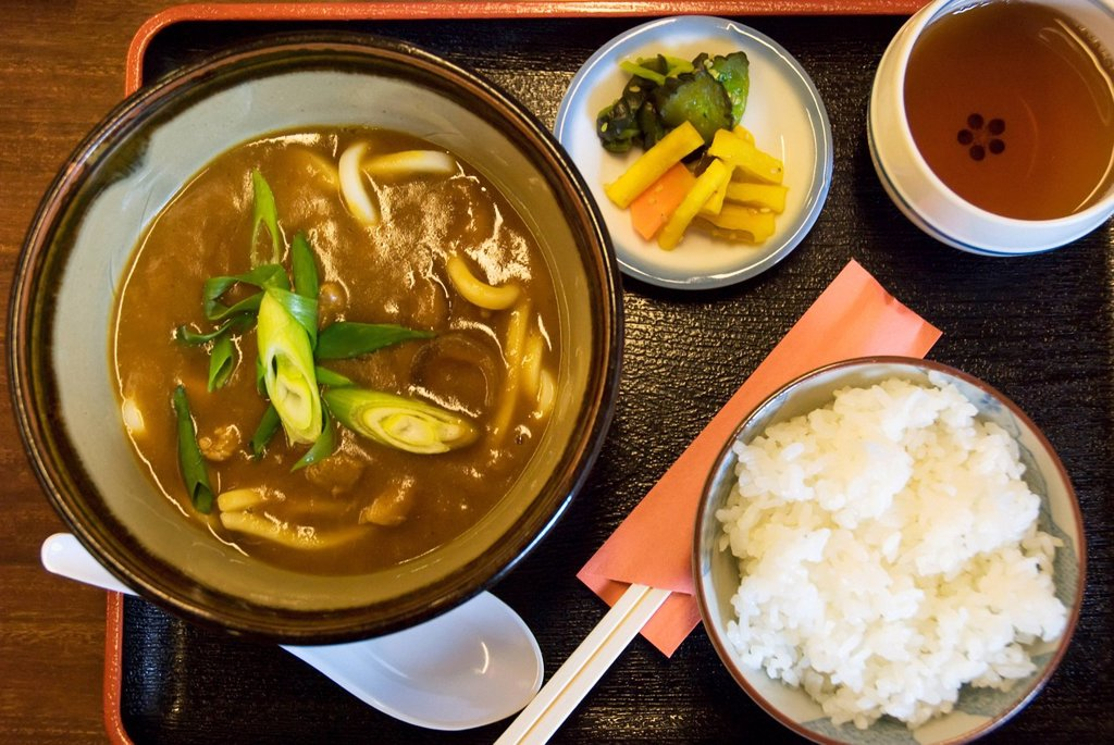 Stock Photo: 1889-82868 Japanese meal with soup, rice and tea, nara, japan