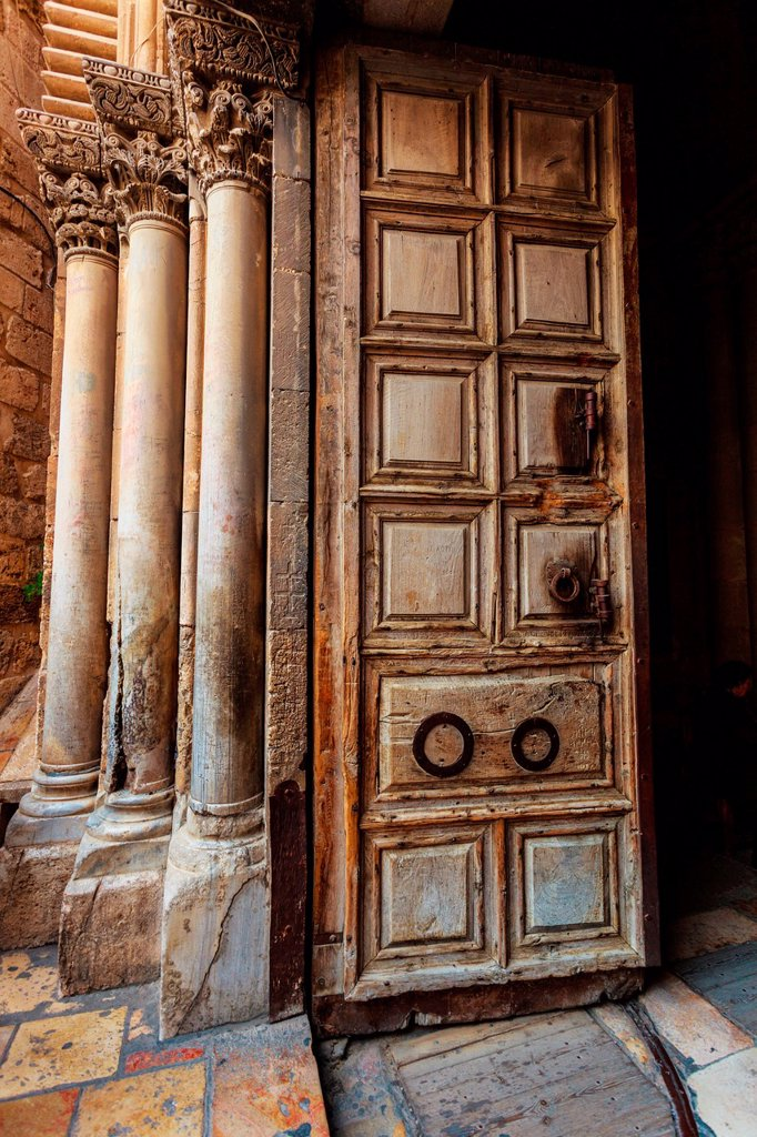 Close-up of door of Church of Holy Sepulchre; Jerusalem, Israel : Stock Photo