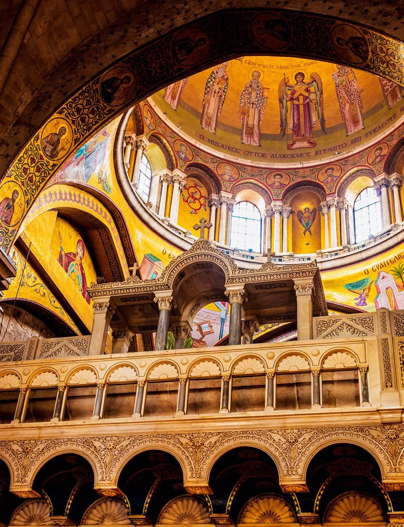 Stock Photo: 1889-89625 Interior of Church of Holy Sepulchre; Jerusalem, Israel