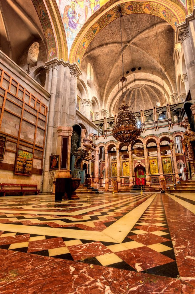 Stock Photo: 1889-89627 Interior of Church of Holy Sepulchre; Jerusalem, Israel