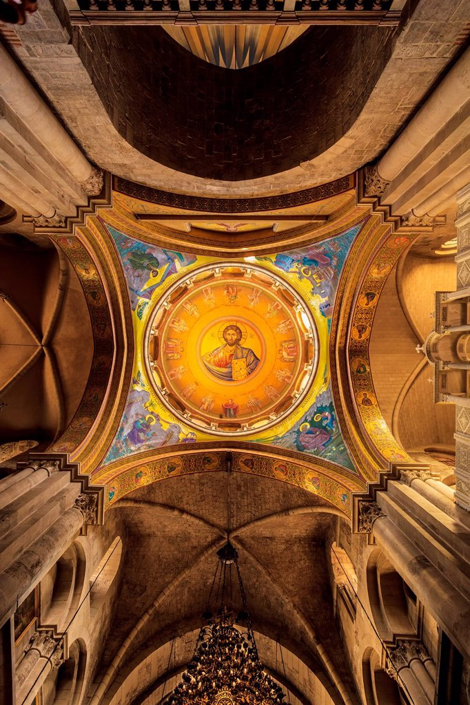 Interior of Church of Holy Sepulchre; Jerusalem, Israel : Stock Photo