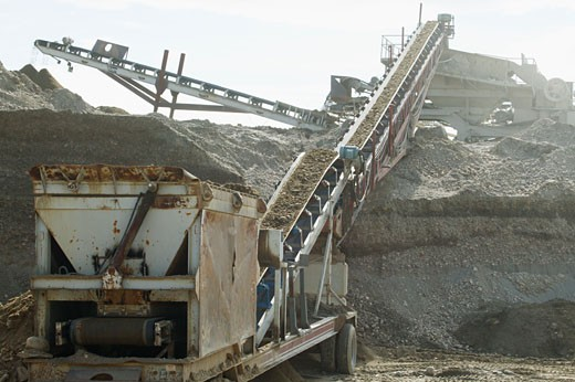 Gravel crusher and separator : Stock Photo