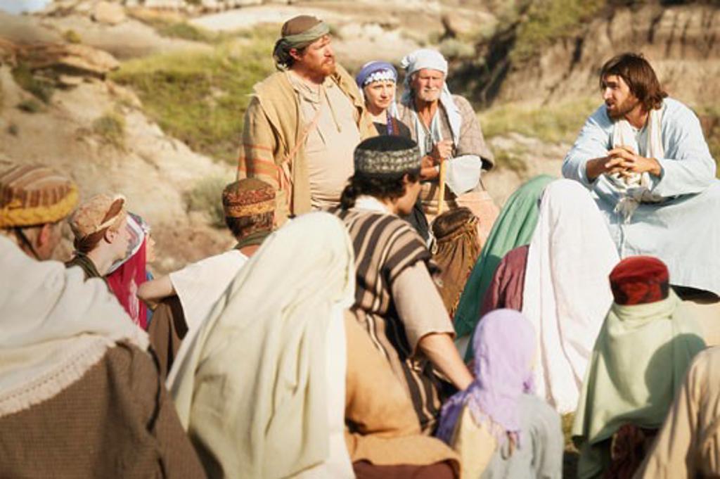Jesus teaches a crowd : Stock Photo