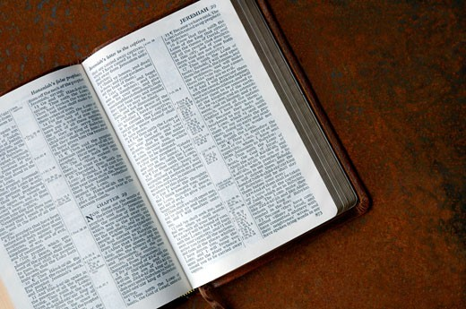 Stock Photo: 1889R-10786 Bible open to Jeremiah