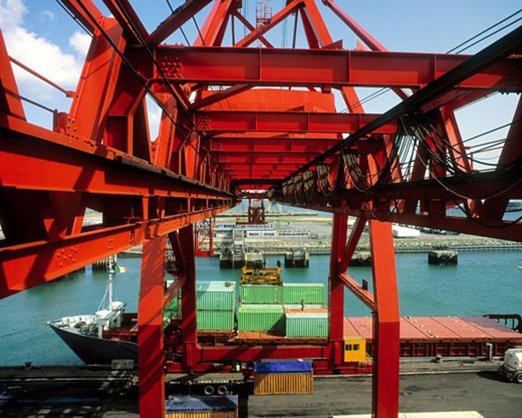Stock Photo: 1889R-11124 Container Docks, Dublin Port, Ireland