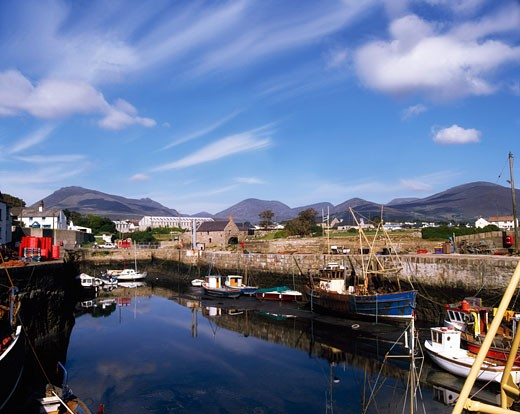 Boats in a harbor, Ireland : Stock Photo