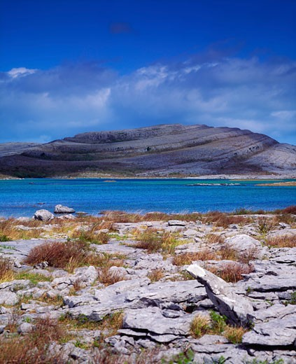 Stock Photo: 1889R-11578 Co Clare, The Burren, Mullaghmore Mountain, (Turlogh in foreground), Ireland