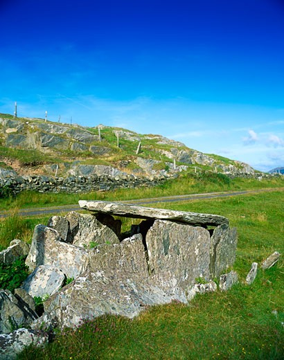 Stock Photo: 1889R-11709 Altoir Ultach (Wedge Tomb), 2000 B.C. Louisburgh, Co Mayo, Ireland