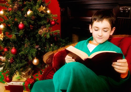 A boy reading bible : Stock Photo