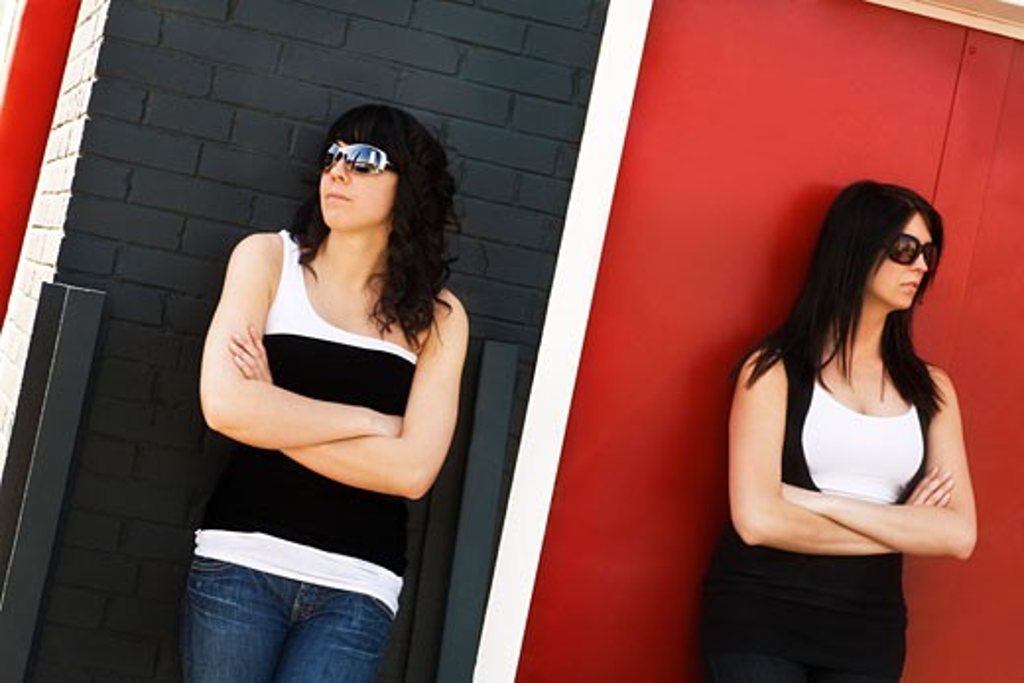 Portrait of two women wearing eyewear : Stock Photo