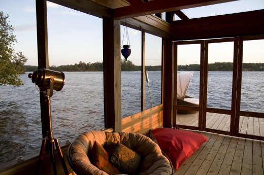 Stock Photo: 1889R-13818 Lounging chairs on a dock