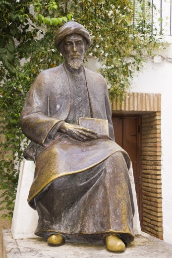 Stock Photo: 1889R-14318 Cordoba, Cordoba Province, Spain; statue of Jewish philosopher, Moses Maimonides