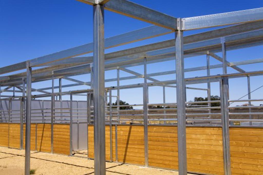New barn construction, Temecula, Southern California, USA   : Stock Photo