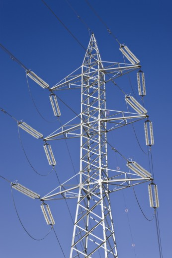 Electricity pylons and power lines : Stock Photo