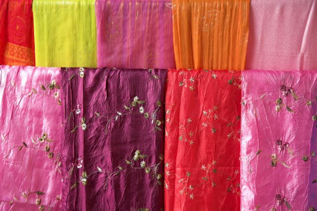 Stock Photo: 1889R-16801 Ban Tha Sawang, Thailand; Silk weaving