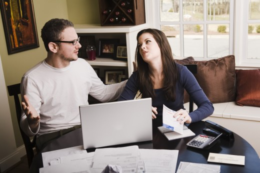 Stock Photo: 1889R-16918 Young couple with financial stress