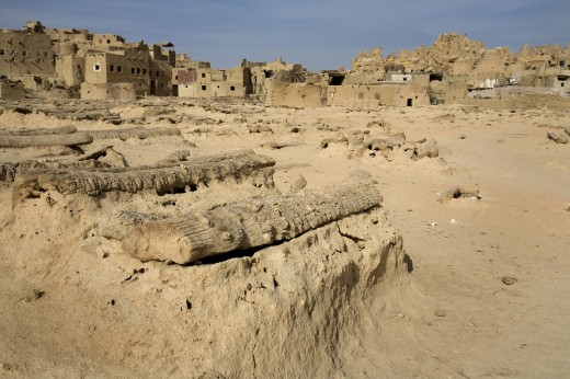 Stock Photo: 1889R-17141 Siwa Town, Siwa Oasis, Egypt; Siwan cemetery at the Fortress of Shali