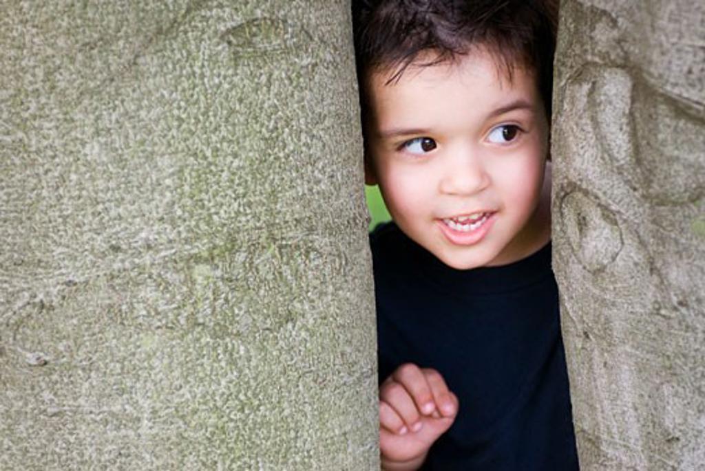 Stock Photo: 1889R-17540 Peeking; boy peeking between trees