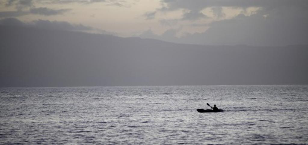 Maui, Hawaii, USA; Kayaker on the ocean   : Stock Photo