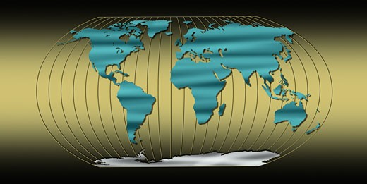 World map with longitude lines on gold background : Stock Photo