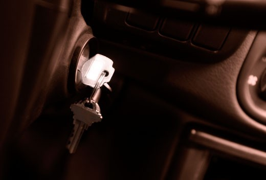 Stock Photo: 1889R-1804 Keys in ignition of vehicle