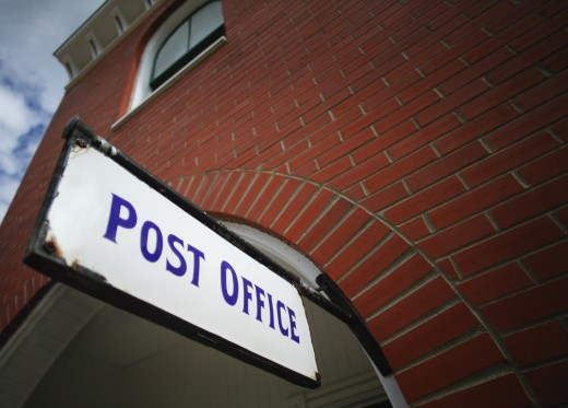 Stock Photo: 1889R-1884 Post office sign