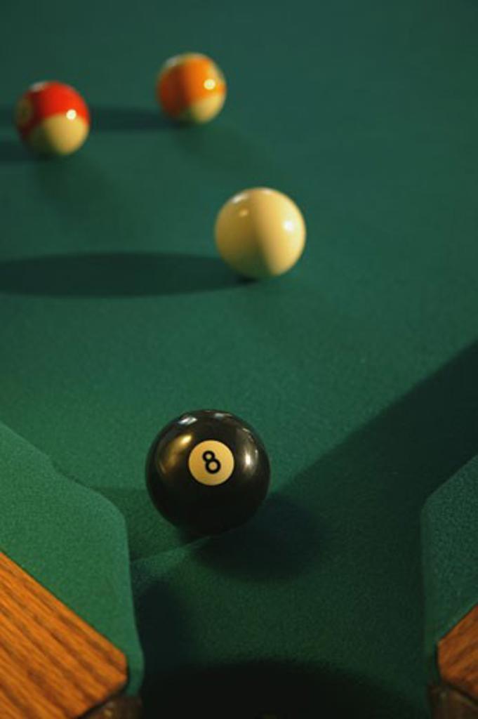 Eight ball in corner pocket : Stock Photo