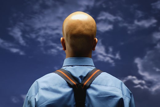 Man looks at the sky : Stock Photo
