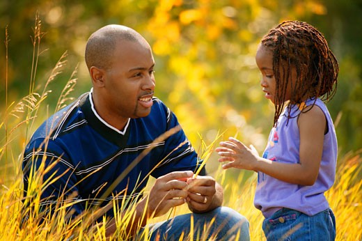 Father and daughter spend time together : Stock Photo