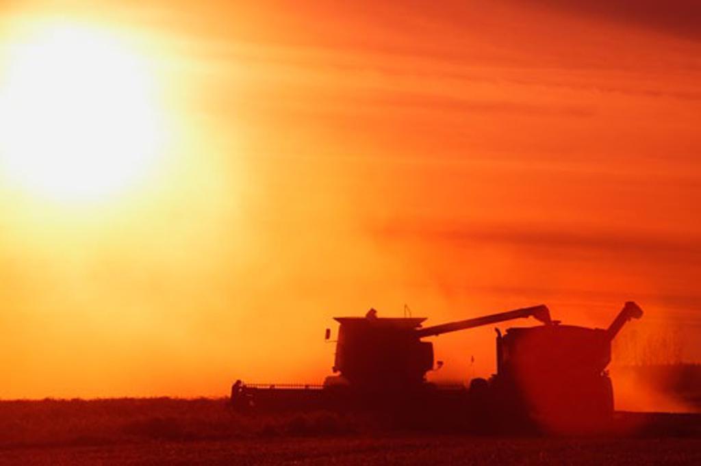 Farm equipment harvesting : Stock Photo