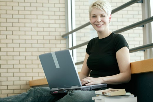 Student with lap top computer : Stock Photo