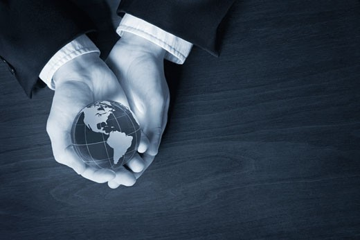 World in his hands : Stock Photo