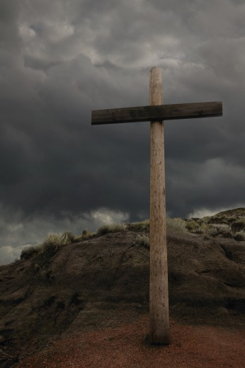 The cross on a hill : Stock Photo