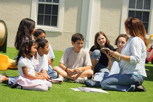 Teaching outside : Stock Photo