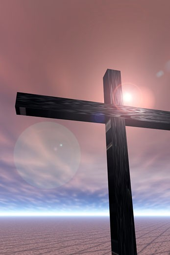 Stock Photo: 1889R-23987 Wooden cross with flare