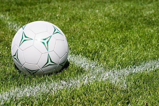 Stock Photo: 1889R-24034 Soccer ball on sideline