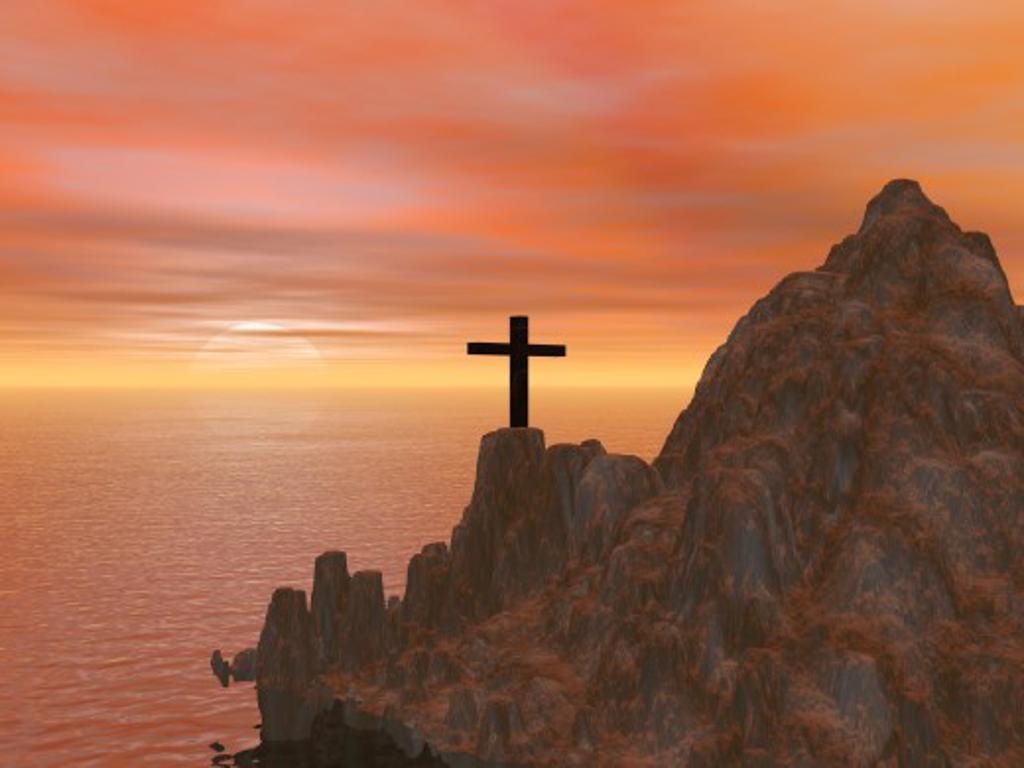 Stock Photo: 1889R-24577 Cross on rugged hillside