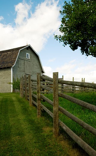 Stock Photo: 1889R-24993 Barn and fenced in area
