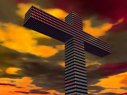 Stock Photo: 1889R-25305 Cross with abstract design